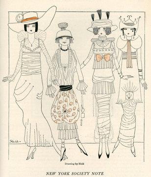 Four American Fashion Conscious Debutantes of New York