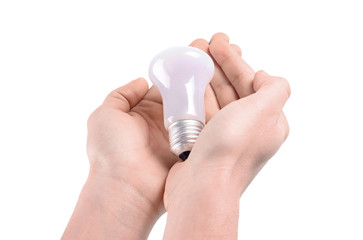 Bulb in hands on a white background