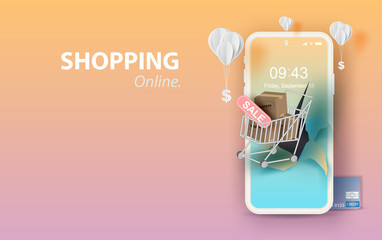 Paper art of smartphone for online shopping your text space background, Shopping Cart Floating on mobile phone concept,Balloon by dollar money on pastel color,Shopping via the internet shop.vector. - fototapety na wymiar