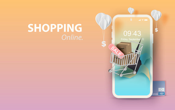 Paper art of smartphone for online shopping your text space background, Shopping Cart Floating on mobile phone concept,Balloon by dollar money on pastel color,Shopping via the internet shop.vector.