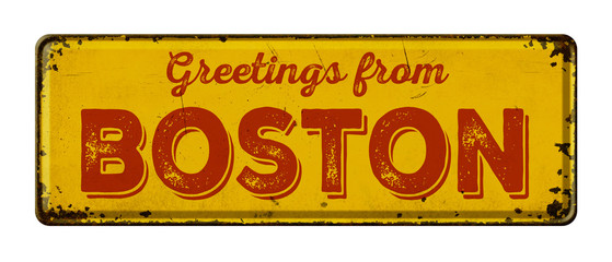Vintage metal sign on a white background - Greetings from Boston