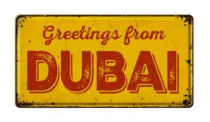 Vintage metal sign on a white background - Greetings from Dubai