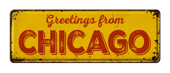 Vintage metal sign on a white background - Greetings from Chicago