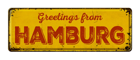 Vintage metal sign on a white background - Greetings from Hamburg