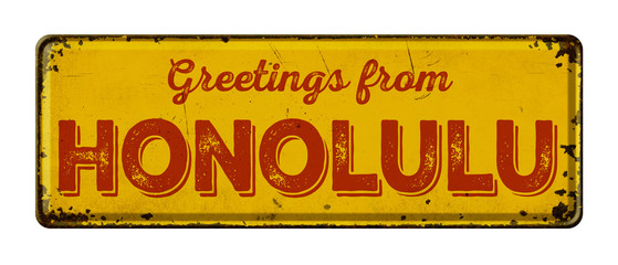 Vintage metal sign on a white background - Greetings from Honolulu