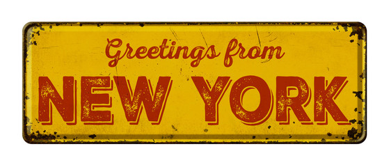 Vintage metal sign on a white background - Greetings from New York