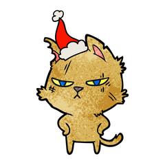 tough textured cartoon of a cat wearing santa hat