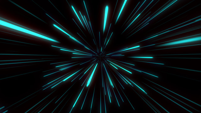 Abstract tunnel speed light Starburst background dynamic technology concept, blue green