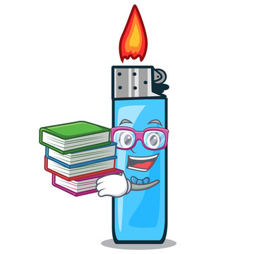 Student with book plastic lighters above tables cartoon wood
