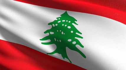 Lebanon national flag blowing in the wind isolated. Official patriotic abstract design. 3D rendering illustration of waving sign symbol.