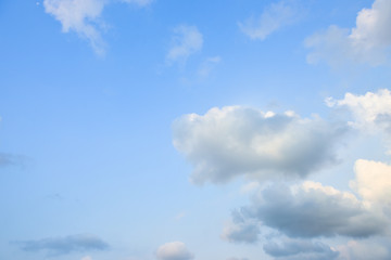 Beautiful blue sky with white clouds in the afternoon.