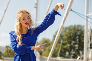 Fashion model wearing blue navy shirt
