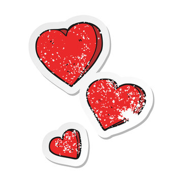 retro distressed sticker of a cartoon hearts