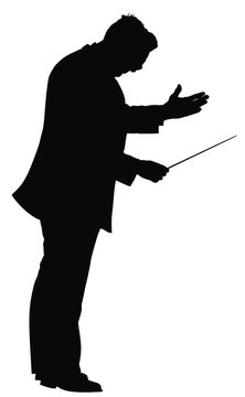 Music conductor vector silhouette illustration isolated on white background. Philharmonic conductor. Orchestra leader on event.