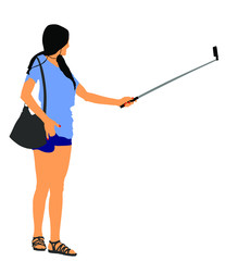 Young woman taking selfie picture vector illustration isolated on white background. hand hold stick with mobile phone. Selfie teenagers tourists taking pictures. Traveler memories saving.