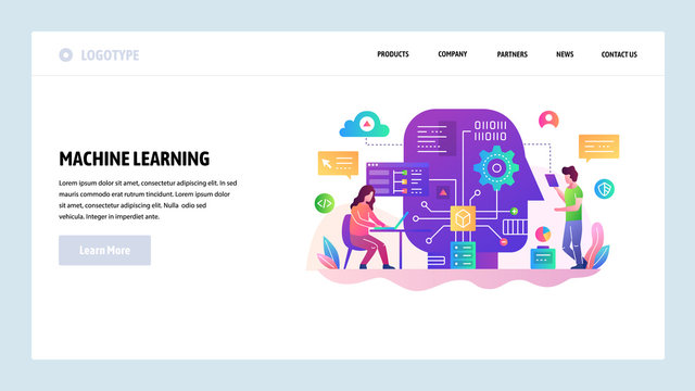 Vector web site design template. Machine learning and AI artificial intellegence, robot technology, big data science. Landing page concepts for website and mobile development. Modern flat illustration