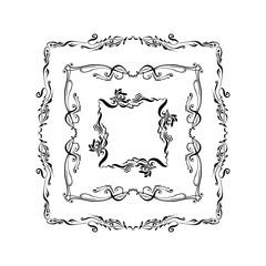 set of ornamental vintage frames. hand drawn ink vector illustration on white background