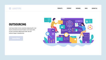 Vector web site design template. Outsourcing and software development. Team working with new project. Landing page concepts for website and mobile development. Modern flat illustration