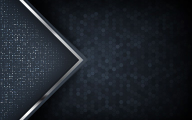 Dark abstract background with circle and black overlap layers. Silver list and silver glitters dots element on hexagon textured background.
