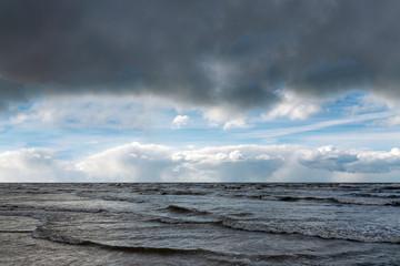 Poster Zee / Oceaan Rough Baltic sea, coast of Latvia.
