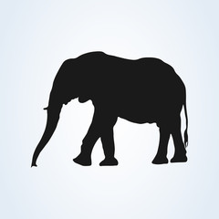 Black elephant silhouette icon vector. isolated on white background