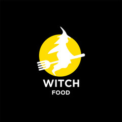 witch food logo icon designs vector template. witch riding fork for hunting flying