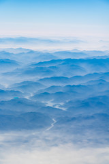 The mountains and the sea of clouds height the sky
