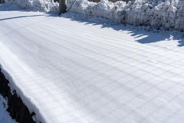 網目の影が映る雪の景色