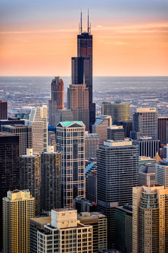Willis tower seen from Hancock at sunset