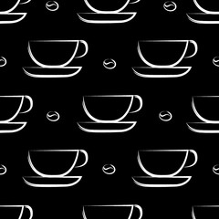 Coffee background. Seamless pattern. Whitte Cups on black background.