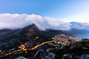 Table Mountain at Dusk, Shot from Lions Head, Cape Town