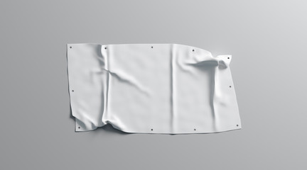 Blank white folded stretch banner mock up, isolated, 3d rendering. Empty promotion poster with eyelets mockup. Clear commercial affiche display with grommets template.
