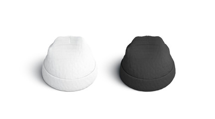Blank blank and white beanie mockup set, isolated, 3d rendering. Empty knitted wear mock up, top view. Clear warm cap for autumn or winter. Textile fashion clothing template.