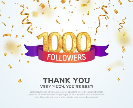 Celebrating 1000 followers with color bright ribbon. Greeting 1000th subscribers vector illustration