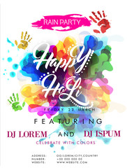 Creative colourful Pamphlet, Banner or Flyer design with date and time details for Indian Festival of Colours, Holi Party celebration.