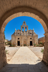 The main church of Arkadi Monastery in Rethymno, Crete, Greece.