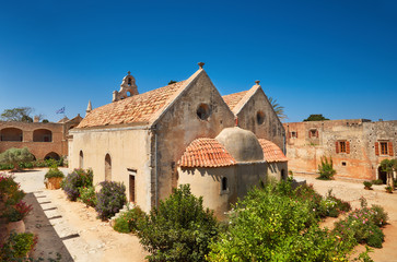 The main church of Arkadi Monastery from the altar side in Rethymno, Crete