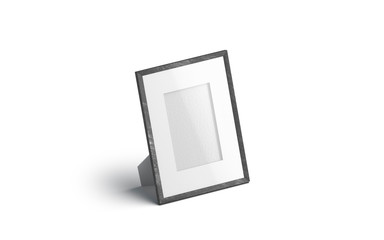 Blank white table photo frame mockup, isolated, 3d rendering. Empty memory card stand mock up, side view. Clear desk wood cadre with photography template.