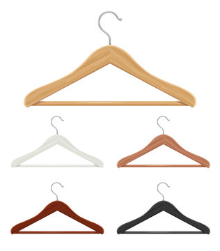 Vintage wooden coat hanger stand isolated on white background..