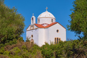 White-washed traditional Christian Orthodox church in Crete island, Greece