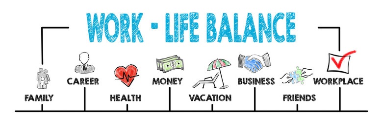 Work life balance concept. Chart with keywords and icons