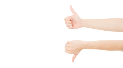 Adult hands shows like and dislike, isolated on white copy space, mock up. Horizontal image