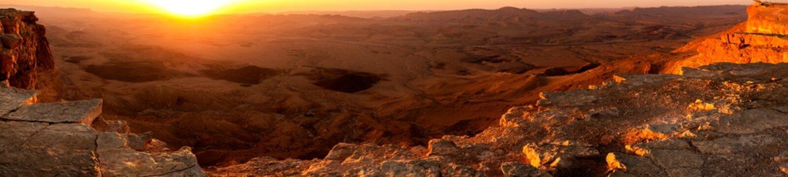 panorama view of sunrise in Mitzpe Ramon, Israel