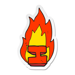 sticker of a cartoon flaming letter I
