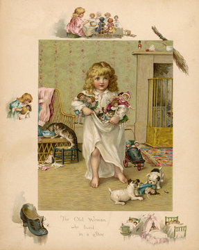 Girl with Dogs, Cats and Dolls