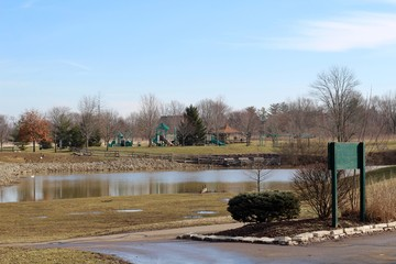 The lake and the landscape of the countryside park.
