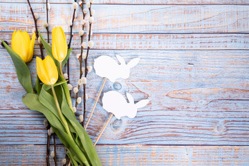 Obraz Pastelowe tło wielkanocne. Święta Wielkanocne. Kolorowe tło. - fototapety do salonu