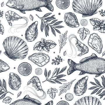 Seafood restaurant seamless pattern.  Fish, seashell, leaf, shrimp. Engraved vintage sea set.  illustration