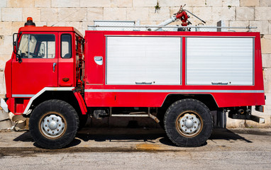 Fire rescue vehicle. Big red rescue car of Italy.