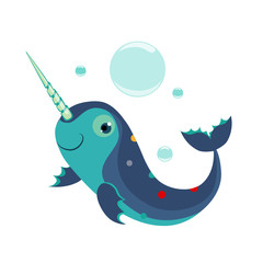 Narwhal. Funny Alphabet, Animal Vector Illustration